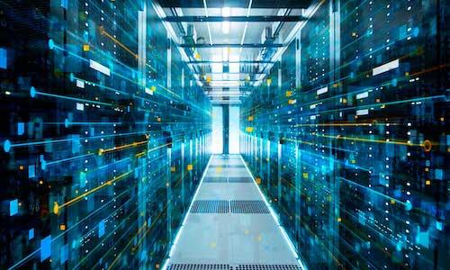 A corridor of computers in a supercomputer center.